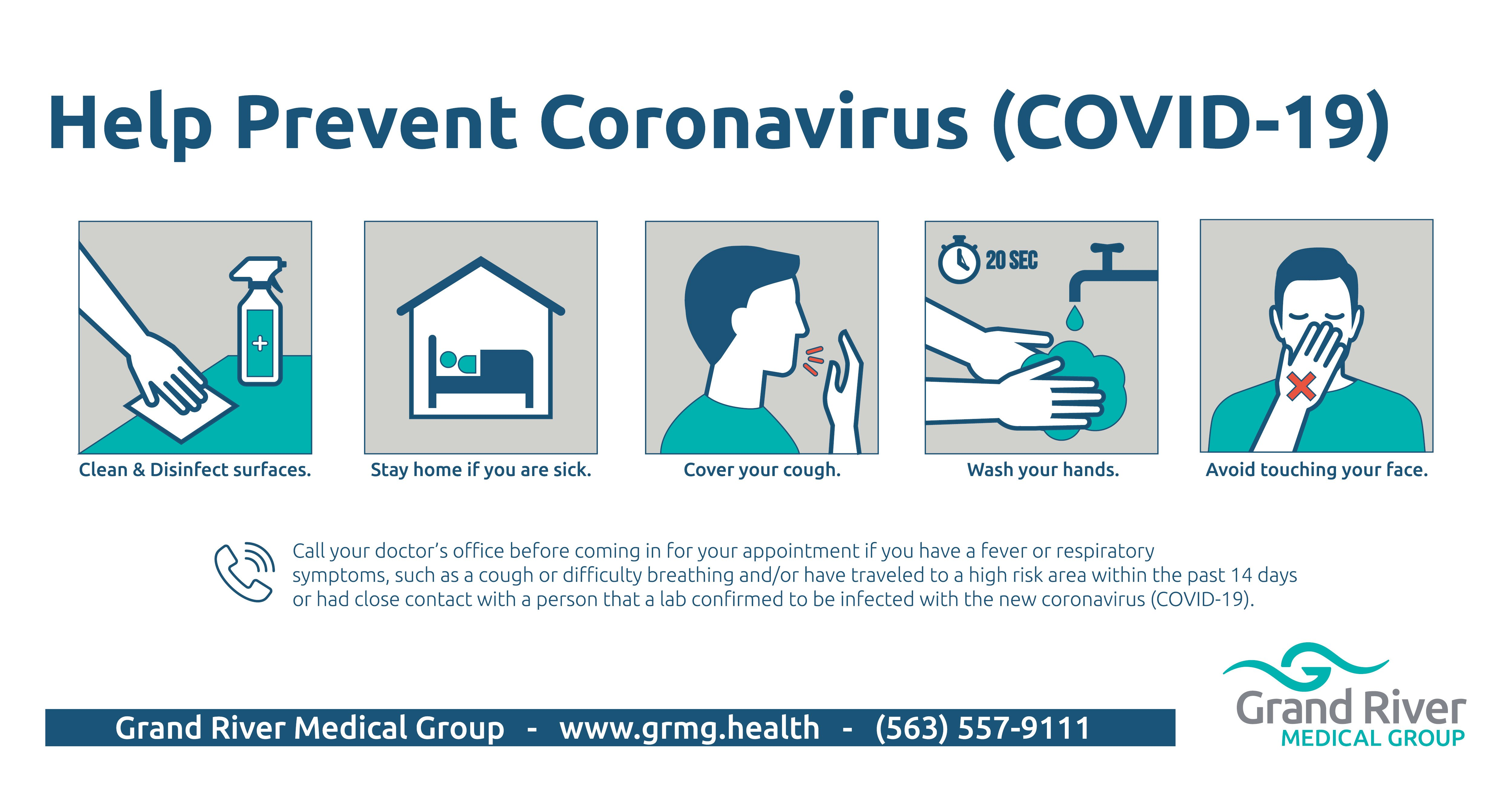 Help prevent spread of coronavirus tips.